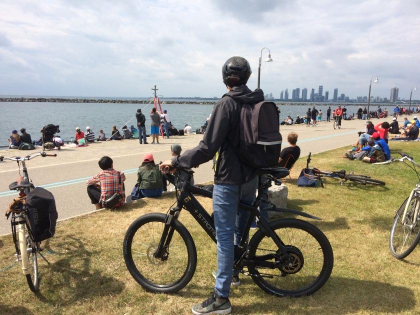 Mark on his e-bike