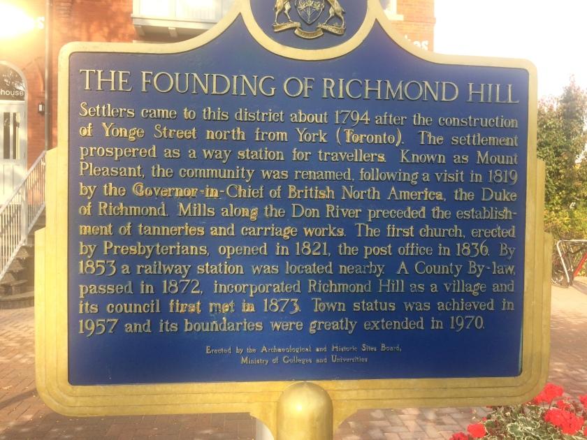 Richmond Hill plaque